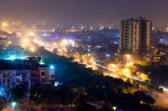 Long exposure at night of Noida Gurgaon cityscape Royalty Free Stock Images