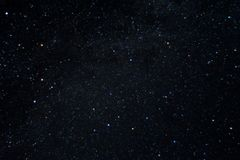 Long exposure night photo. A lot of stars with constellations. Far from the city. Night wonderful landscape stock image
