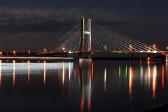 Bridge spanning the Mississippi River stock photos