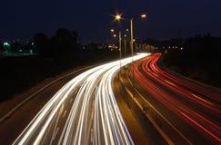 Long exposure night shot of highway Stock Photo