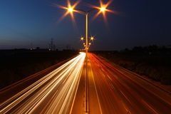Long exposure night shot of highway Stock Photography