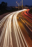 Long exposure night shot of highway Royalty Free Stock Photography
