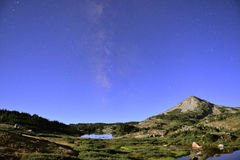 Long exposure night shot of the Medicine Bow Mountains of Wyoming, alpine lake, and stars Royalty Free Stock Photo
