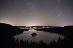 Long Exposure Night Sky Emerald Bay Fannette Island Lake Tahoe Royalty Free Stock Image