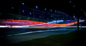 Long Exposure Night Traffic Royalty Free Stock Images