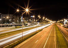 Long exposure night traffic Royalty Free Stock Photo