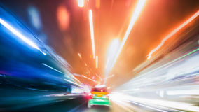 Long exposure night traffic light in the city. Blurred Abstract image of Long exposure night traffic light in the city Stock Images