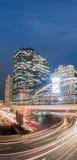 Long exposure of night traffic on Sathorn district,Bangkok,Thailand. Stock Image