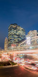 Long exposure of night traffic on Sathorn district,Bangkok,Thailand. Bangkok,Thailand -  May 13,2015 : Long exposure of traffic on Sathorn district,Bangkok Royalty Free Stock Photo