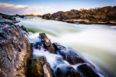 Long Exposure Of Cascades On The Potomac River At Great Falls Pa Royalty Free Stock Images