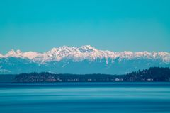 Long Exposure of the Olympia Mountains. royalty free stock photos