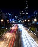 Long exposure over highway stock image