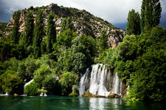 Long exposure panorama of waterfalls of the Krka river in Krka national park in Croatia Royalty Free Stock Photography