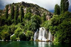 Long exposure panorama of waterfalls of the Krka river in Krka national park in Croatia. Beautiful long exposure panorama of waterfalls of the Krka river in Krka Royalty Free Stock Photography