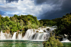 Long exposure panorama of waterfalls of the Krka river in Krka national park in Croatia Stock Images