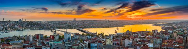 Long exposure panoramic cityscape of Istanbul at a beautiful dramatic clouds sunset from Galata to Golden Horn gulf. View stock photo