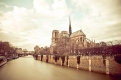 Notre Dame de Paris on a Cloudy Day Stock Photo