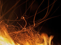 Long exposure photo of fire sparkles.  Royalty Free Stock Photos