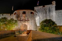Long exposure photo of the front of the main gate of the wall of the walled city of Dubrovnik stock photo