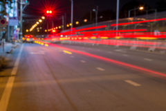 Long exposure photo of light trails on the street Stock Photos