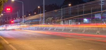Long exposure photo of light trails on the street. Stock Photo