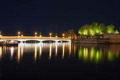 Night view of Limmat river royalty free stock image