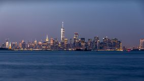 Long exposure photo of a Lower Manhattan skyline. stock images