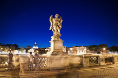 Long exposure photo of statue at night time in Rome Italy. Europ Stock Images
