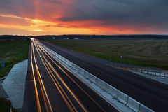 Long exposure photo of traffic at sunset Stock Photography