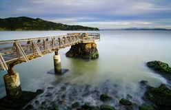 Long exposure photograph of Elephant Rock Pier in Tiburon, CA. stock photography