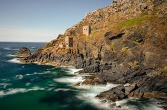 Long Exposure photograph of the popular Poldark setting of Botallack Mine, Cornwall royalty free stock image