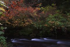 Long exposure photographs of rolling river with fall foliage royalty free stock images