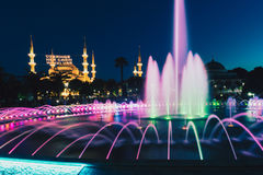 Long exposure photography at Aya Sofya Hagia Sophia with fountain in the foreground during Ramadan Mont at Sultanahmet Park, Ista Stock Photo