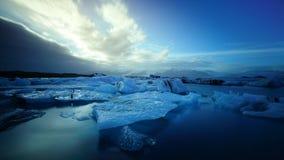 Long Exposure photography of blue iceberg floating in Jokulsalon lagoon,Iceland royalty free stock photography
