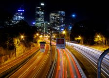 Long exposure photography of light rails in Sydney, Australia stock image