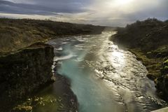 Long exposure photography of the river behind Bruarfoss waterfall royalty free stock images