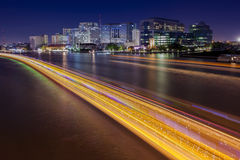 Long exposure photography of siriraj hostipal and lighting of bo Royalty Free Stock Photos