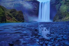 Long exposure photography Skogafoss waterfall during evening time royalty free stock image