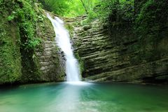 Long exposure photos of Tatlica Waterfall in Erfelek, Sinop in Turkey royalty free stock photography