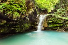 Long exposure photos of Tatlica Waterfall in Erfelek, Sinop in Turkey stock photography