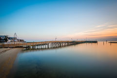 Long exposure of the pier and Chesapeake Bay at sunrise, in Nort Stock Photos