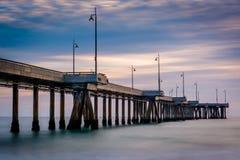 Long exposure of the pier at sunset. Long exposure of the pier at sunset, in Venice Beach, Los Angeles, California Royalty Free Stock Photos