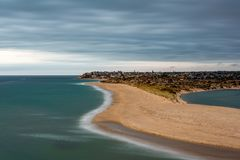 A long exposure at Port Noarlunga beach South Australia on 10th March 2019. A moody long exposure at Port Noarlunga beach South Australia on 10th March 2019 royalty free stock image