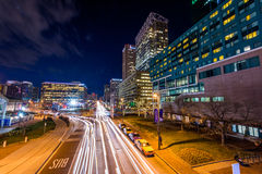 Long exposure of Pratt Street in Baltimore, Maryland stock photo