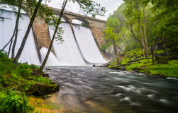 Long exposure of Prettyboy Dam and the Gunpowder River in Baltim Royalty Free Stock Photo