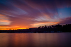Long exposure of Prettyboy Reservoir at sunset, in Baltimore Cou Royalty Free Stock Photography