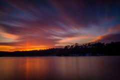 Long exposure of Prettyboy Reservoir at sunset, in Baltimore Cou. Nty, Maryland Royalty Free Stock Photos