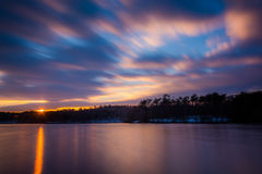 Long exposure of Prettyboy Reservoir at sunset, in Baltimore Cou. Nty, Maryland Royalty Free Stock Photography