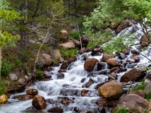 Long Exposure River Waterfall. Nice silky smooth long exposure shot of a small waterfall stock images