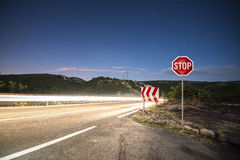 Long exposure on road at night Royalty Free Stock Images